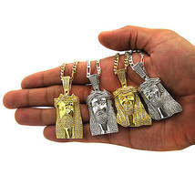 14K Gold Plated Mini Micro Hip Hop Iced Out Jesus Piece Chain And Pendant  - €27,71 EUR