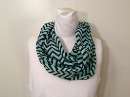 Light Blue Black Zig Zag Chevron Pattern Infinity Scarf 100% Polyester by MAD
