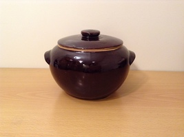 Vintage American Pottery Dark Brown Glazed Pot with Lid, marked USA