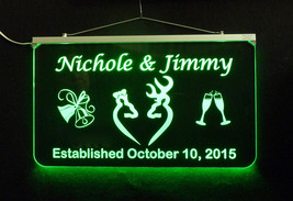 Doe and Buck Wedding Sign, Personalized LED Multi Color Changing Wedding Gift image 3