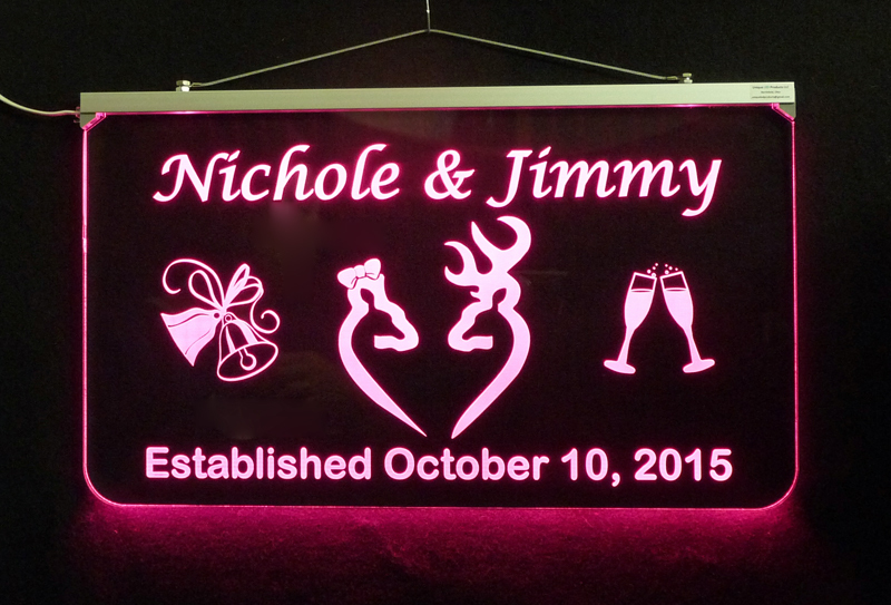 Doe and Buck Wedding Sign, Personalized LED Multi Color Changing Wedding Gift image 2