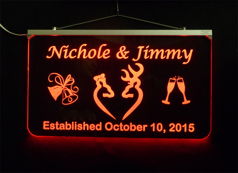 Doe and Buck Wedding Sign, Personalized LED Multi Color Changing Wedding Gift image 4
