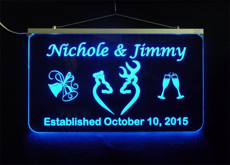 Doe and Buck Wedding Sign, Personalized LED Multi Color Changing Wedding Gift