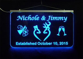 Doe and Buck Wedding Sign, Personalized LED Multi Color Changing Wedding Gift image 1