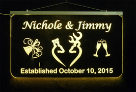 Doe and Buck Wedding Sign, Personalized LED Multi Color Changing Wedding Gift image 5