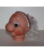 "Doll Craftin 3-1/2""Grandma Whimsy Doll Head Craft White Hair Pink Ribbon... - $5.69"