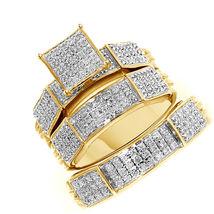 Sim Diamond 14k Gold Plated Wedding Engagement Trio Ring Set & Free Shipping - $175.99