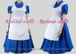 Alice in Wonderland movie Blue Cosplay Costume Dress - Custom made in Any size - $79.00