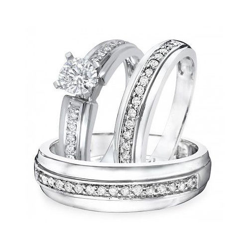 Primary image for 1 TCW Round Cut Sim.Diamond 14K White Gold Fn .925 Silver Trio Wedding Ring Set