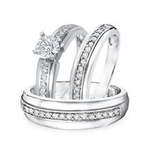 1 TCW Round Cut Sim.Diamond 14K White Gold Fn .925 Silver Trio Wedding Ring Set - $129.85