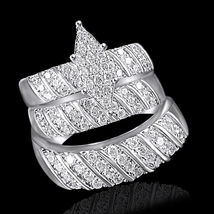 14k White Gold Plated 925 Silver White Sim Diamond Engagement Trio Ring Set - $182.96