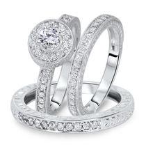 Brilliant Cut Sim Diamond 14K White Platinum Fn 925 Silver Trio Wedding Ring Set - $130.71