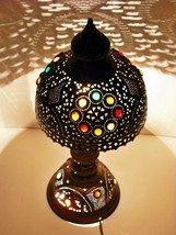 Handcrafted Vintage Moroccan Jeweled Table OXIDIZED Brass Lamp Shades Li... - $167.94