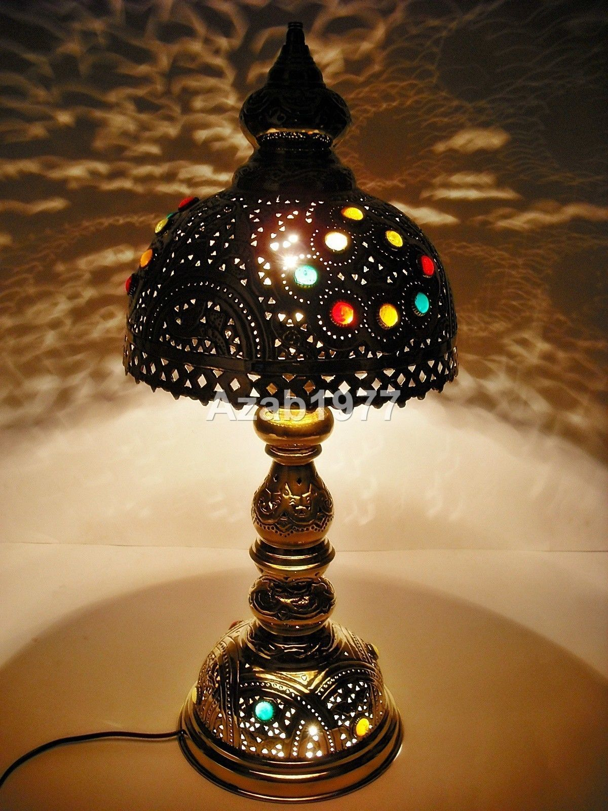 Handcrafted Vintage Moroccan Jeweled Table Brass Lamp