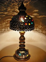 Handcrafted Vintage Moroccan Jeweled Table Brass Lamp Shades Lighting - $102.84