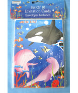 Delux Imports Party Invitations Whale Ocean 10 Cards & Envelopes - $5.24