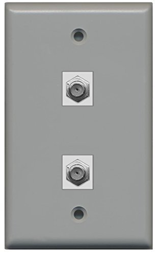 RiteAV - 2 Port Coax Cable TV- F-Type Wall Plate - Gray