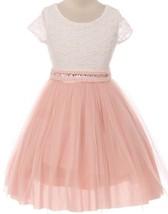 Flower Girl Dress Mesh Skirt with Pearl & Stone Belt Blush JKS 2045 - $27.71+