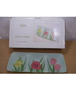 """Block Spring Garden Floral 3 Section 18"""" Glass Tray NEW - $44.05"""