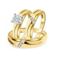 5/8 CT Round Cut Sim.Diamond 14K Yellow Gold Fn 925 Silver Trio Wedding Ring Set - $143.70