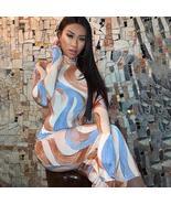 Women's Long Sleeve Soft Pastel Tie Dye Wave Club Dress - $24.22