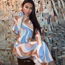 Women's Long Sleeve Soft Pastel Tie Dye Wave Club Dress