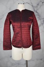 Armani Collezioni Blazer Quilted Iridescent Dark Red Metallic Collarless... - $62.97