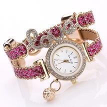 FanTeeDa Top Brand Women Bracelet Watches Ladies Love Leather Strap Rhin... - $14.50