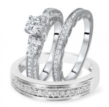 1 1/2 RD Sim Diamond Trio Wedding Ring Set In 14K White Gold Fn 925 Silver - $130.71