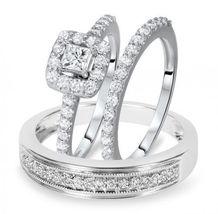 1.25 Ct Princess Sim Diamond 14K White Gold Fn 925 Silver Trio Wedding Ring Set - $168.99