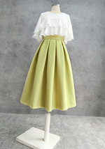 Women Winter Wool Skirt Outfit High Waist A-line Khaki Winter Skirt Plus Size image 10