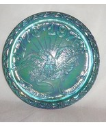 United States Bicentennial Blue Carnival Glass Plate 1776-1976 Indiana  ... - $29.46