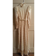 Dress maxi ruffle lace gown 60's 70s Victorian style wedding vintage pro... - $87.00
