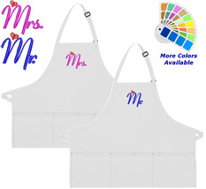 Apron Embroidered with Mr Mrs Hearts Embroidery Design Wedding Gift - $30.99