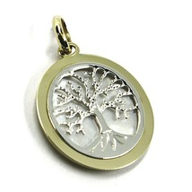 9K WHITE YELLOW GOLD PENDANT, TREE OF LIFE DISC DIAMETER 17 MM, MOTHER OF PEARL image 2