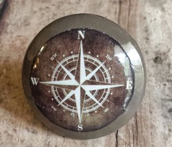 """Set of 4 Espresso Brown Compass Style Knobs, 1.5"""" Nautical Handmade Drawer Pulls - $23.76"""