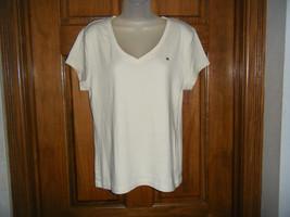 Tommy Hilfiger Ivory Cotton V-Neck Top or Shirt - Size XL - $13.63