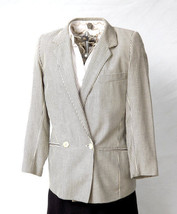 Womens Pinstripe Suit Blazer Jacket Designer DKNY Donna Karan Blue White Size S - $55.44