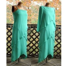 Long Asymmetrical Tiered Green Vintage Spaghetti Strap Dress Gown Jacket Sz10 12 - $75.00