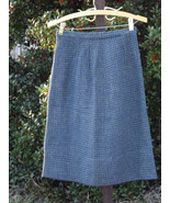 Womens Plaid Wool Skirt Blue Preppy Short Pencil Vintage Tweed Size S Small - $33.66