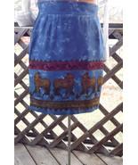 Animal Print Skirt Blue Abstract Vintage Mini Short Tribal Size 8 Medium - $45.94