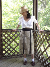 Womens Wrap Skirt Black Tan White Abstract Vintage Summer Beach Size Small - £21.64 GBP