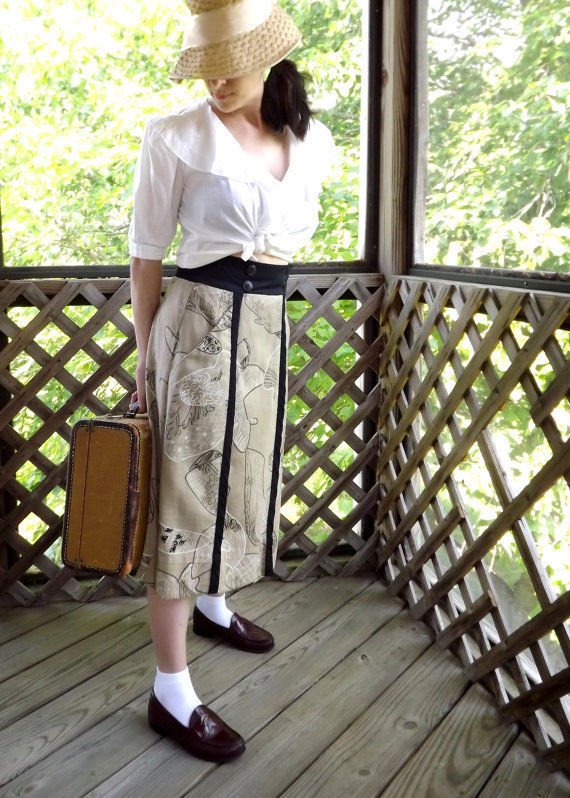 Womens Wrap Skirt Black Tan White Abstract Vintage Summer Beach Size Small