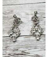 Vintage Screw On Earrings Dangle Clear Gem - $11.99