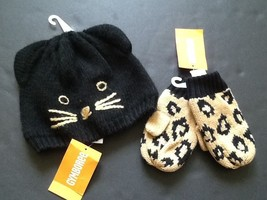 NEW Gymboree 12-24 Right Meow Kitty Cat Sweater Hat Leopard Print Mitten... - $11.29