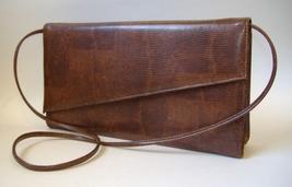 Brown Faux Snakeskin Purse Shoulder Bag Clutch Handbag Black Fabric Lined  - $30.00