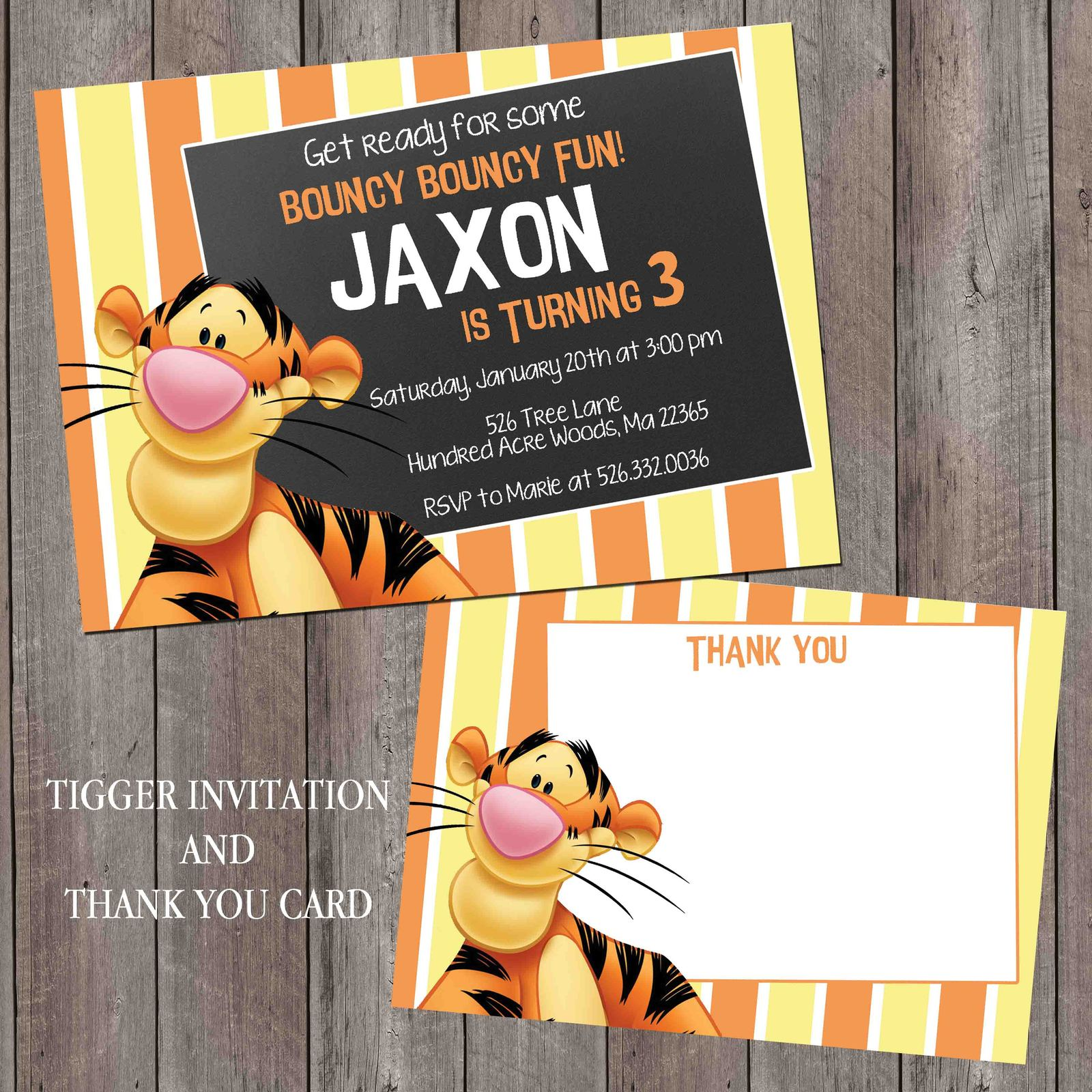 Tigger birthday invitation personalized and 50 similar items tigger birthday invitation personalized chalkboard thank you card set filmwisefo