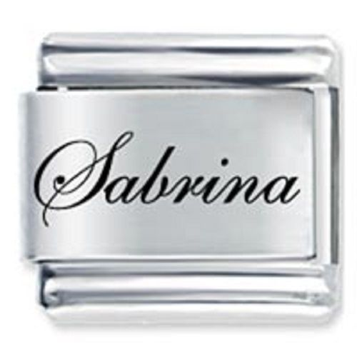 9mm Sabrina Laser Name Italian Charm ( F ) (LN3175)