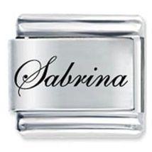 9mm Sabrina Laser Name Italian Charm ( F ) (LN3175) - $3.25