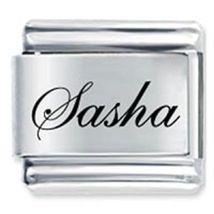 9mm Sasha Laser Name Italian Charm ( F ) (LN3222) - $3.25